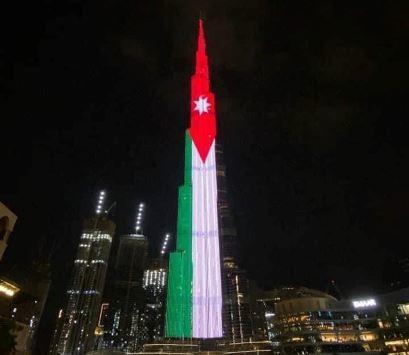 برج خليفة يتزين في علم الأردن