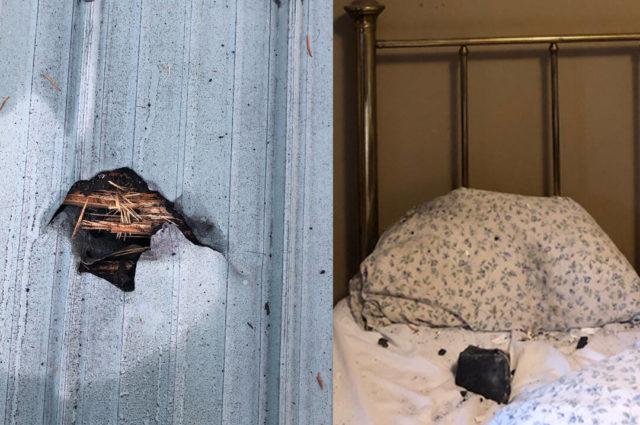 كندية تنجو من موت محقق بعد سقوط نيزك على وسادتها أثناء نومها صور